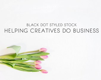 Pink tulips horizontal styled stock photo - small business, lifestyle, blog, social media + website headers, flowers, simple, modern