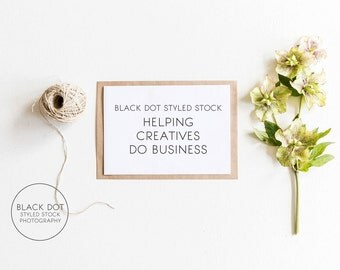 Greenery, twine and card lifestyle styled stock photo - small business, stationery, paper shop, blog, website header, listing image, brand