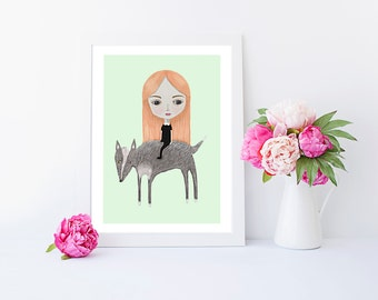 Illustration print // Wolf Rider// Art Print