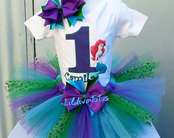 Handmade Ariel tutu set / The little mermaid tutu set / Ariel birthday shirt / Ariel birthday outfit / Little mermaid birthday shirt
