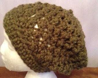 Crocheted slouchy hat crocheted in chunky yarn