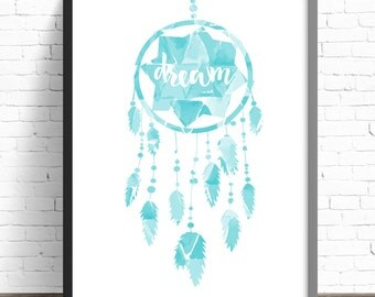 Nursery Print, Girls Bedroom Wall Art, Geometric Watercolor Dreamcatcher, Nursery Decor, Girls Nursery Print, Tribal Nursery Print