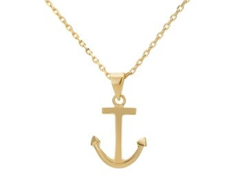14k Gold Necklace, 14k Gold Pendant Necklace, Gold Plated Pendant, Gold Anchor Necklace, Nautical Pendant Necklace, Nautical Gold Necklace