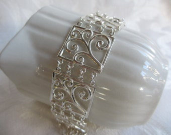 Sterling Silver Handmade Silver Jewelry Large Link Scroll Bracelet