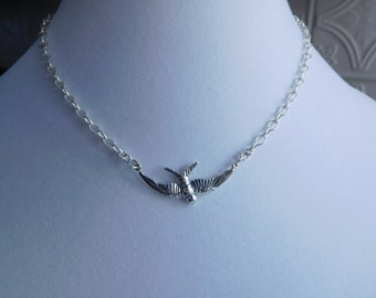 Sterling Silver Flying Bird Handmade Necklace
