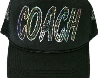 Women's Coach Sequins Bling Cap sparkly glitter Hat