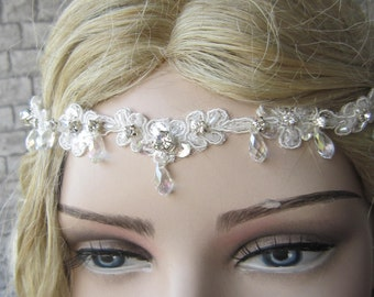 Lace wedding Heaband/ Bridal Lace Hairband, Wedding Hair, Crystal And Lace Headband, Bridal Headband, accessories
