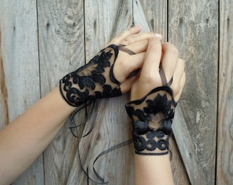 Black Lace Cuffs, wedding gloves, bridal cuffs, bridal gloves, wedding accessories,cuffs