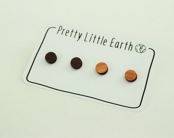 Circle Wooden Stud Earrings - Two Pairs