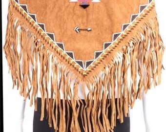 Fringe wrap scarf, Aztec fringe scarf, Ethnic fringe scarf, vegan suede