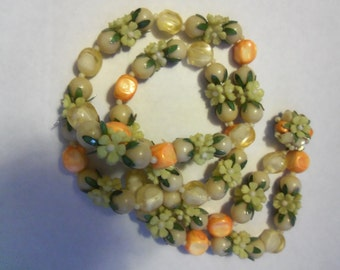 Vintage beads, broken necklace to repair or make new jewelry, vintage 70  plus pretty clasp, flowers
