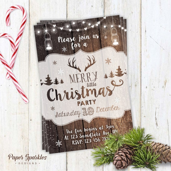 Christmas Party Invitation, Rustic Christmas Invite, mason jar invitation, deer, christmas party, christmas invitation, printable invite