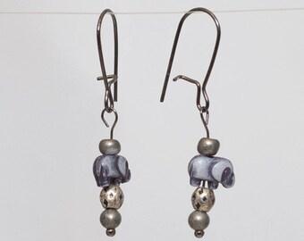 Earrings - silver/purple elephants