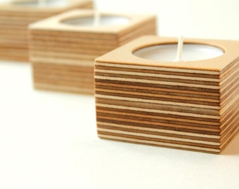 Birch plywood tea light holder - set of three