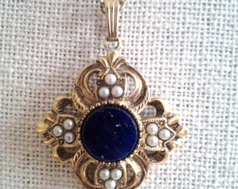 Ornate Pendant Necklace with Midnight Blue Stone