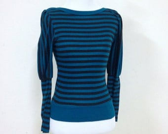 80s Juliet Sleeve Boat Neck Blue and Black Stripe Blouse Size Small