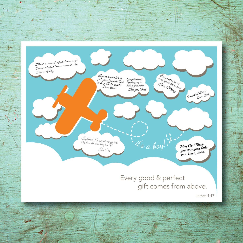 Airplane Baby Shower Guestbook Print Boy Baby Shower