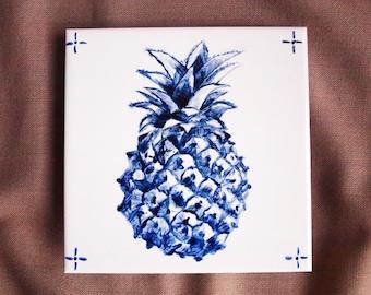 """Portuguese tile, Azulejo, """"Ananás de Açores"""" (6x6 inch, 15x15cm)"""