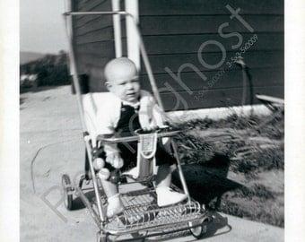 Cruisin in my antique stroller! 3- Baby - Walk  - Vintage Snapshot - 1950s