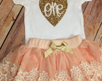 1st Birthday Girl Outfit, CUSTOMIZE, 1st birthday outfit, Peach / Pink Lace tutu, Girls birthday outfit, Cake smash photo prop Princess Tutu