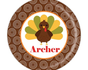 Thanksgiving Plate - Turkey Dinner Plate, Brown Dots, Holiday Thanksgiving Melamine Personalized Plate - Kids Personalized Gift under 25