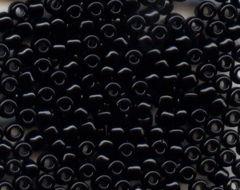 11/0 Opaque Black 401, Japanese Glass Seed Beads, 28g