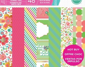Craft Smith RAINBOW SHERBET Paper Pad 48 Printed Sheets 12 x 12 Scrapbook NEW