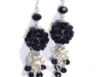 Beaded black Crystals Earrings/Drop/Silver Plated/Handmade