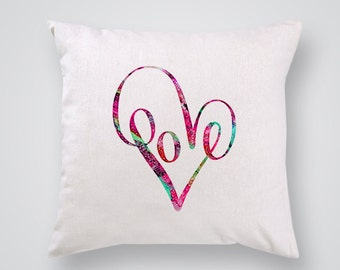 Love Pillow Cover - Home Decor - Decorative Throw Pillow - Colorful Accent Pillow