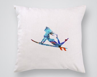 Surf woman Pillow Cover - Home Decor - Decorative Throw Pillow - Colorful Accent Pillow