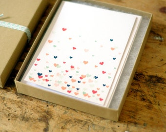 Colorfull Hearts Confetti   Blank Greeting Card