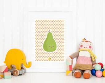 Happy Pear | Kawaii | A4 Wall Art | Kids Room Decor | Poster | Nursery Decor