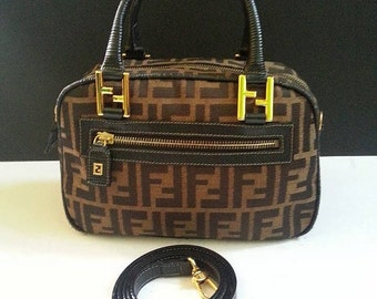 50% OFF MEGA SALE Rare Fendi Roma Italy 1925 Zucca Handbag with Long Strap