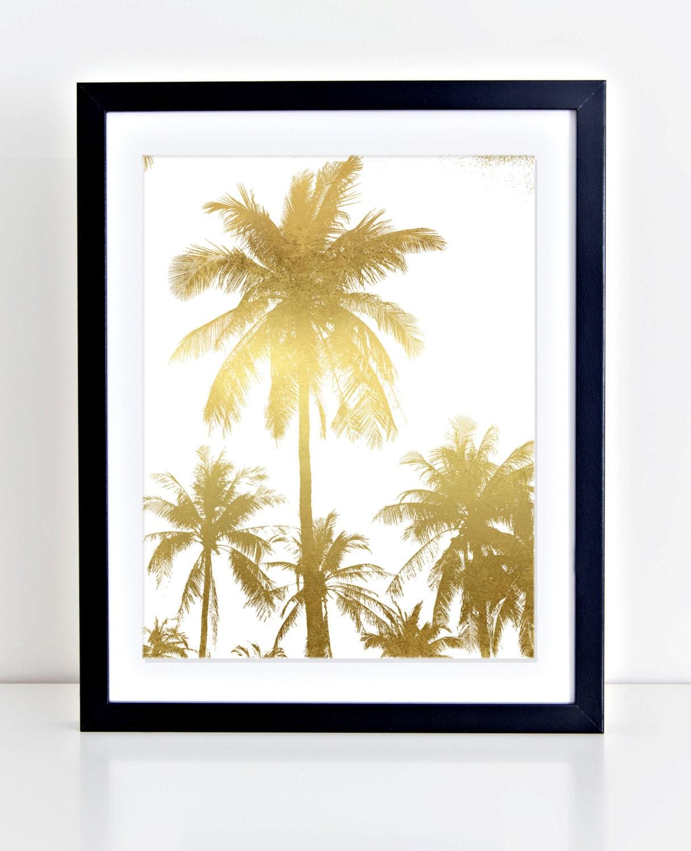 palm tree print palm trees wall art gold foil palm trees. Black Bedroom Furniture Sets. Home Design Ideas