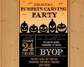 Pumpkin Carving Party Invitation, Downloadable Invitation, Halloween Invitation, Halloween Party, Pumpkin Carving Party, Pumpkin Carving