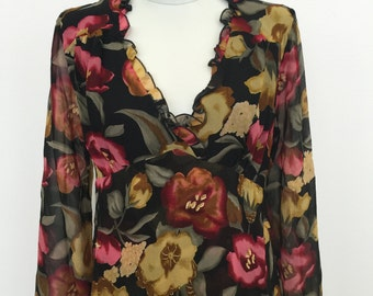 Floral 90s V Neck Blouse by Romerecci