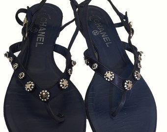 Chanel Navy Jeweled Sandals