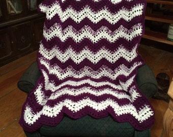 Chevron blanket, afghan, crochet blanket, ripple afghan