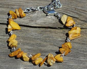 Jasper Bracelet ~ Gold Stone Bracelet ~ Semi Precious Stones ~ Natural Stone Jewellery ~ Meditation Stones ~ Hand Wired Jewelry ~ Silver