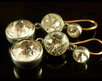 Georgian 19th Century Trilogy Silver/gold Paste Earrings