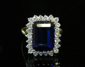 Cz Tanzanite Ring Paste Tanzanite Emerald Cut Ring