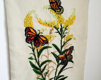"Vintage Linen, Monarch Butterfly, Crewel, Wall Hanging, Antique Linen, 18"" x 23"""