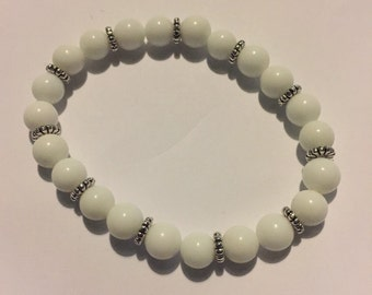 Natrual White jade beaded bracelet