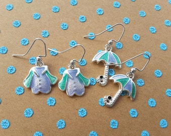 April Showers Set - Blue and Green . Earrings