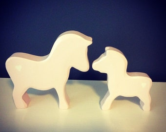 Pink wooden Zebra Nursery Decor set of two- Mama and Baby decor - Vintage Holztiger Upcycled