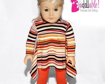 American made Girl Doll Clothes, 18 inch Girl Doll Clothing, Striped Twirly Tunic & Rust Legging made to fit like American girl doll clothes