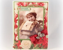 Noel Christmas Card, Vintage Style, Holiday Card, Luxury, Fancy Christmas Card, Vintage Photograph Holiday Card Christmas Gift Greeting Card