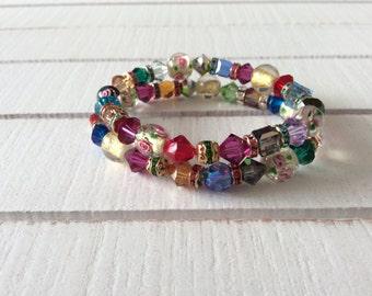 Easter Bracelet, Multicolor Bracelet, Set of 2 Bracelets, Swarovski Crystal Bracelet, Czech Crystal Bracelet, Glass Beads Bracelet, Love