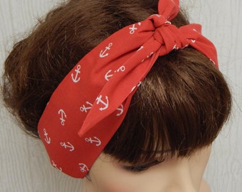 Anchor Red and White Cotton Headband, Self Tie Headscarf, Rockabilly Hair Scarf, Tie Up Head Scarf, Pin up Hairband Bandana