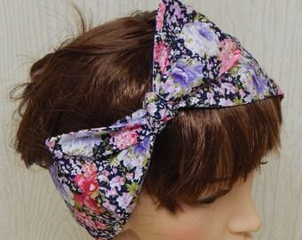 Retro Style Headband, Tie Up Headscarf, Dolly Bow Hair Bow, Vintage Cotton Hair Wrap, Womens Head Scarf